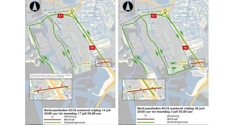 De provincie Noord-Holland voert groot onderhoud uit aan de Thorbeckeweg in Zaandam en de Kolkweg in Oostzaan, samen de N516. Tegelijk met het groot onderhoud verbetert de provincie de kruisingen met de Ambacht en de Verlengde Stellingweg en wordt de duikerbrug vervangen.